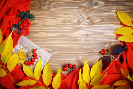 The table was decorated with autumn leaves and berries. Autumn. Autumn background. Stock Photo
