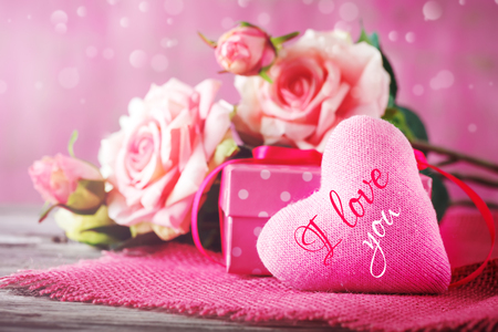 Valentines day card. Mothers day. Selective focus, Background with copy space.