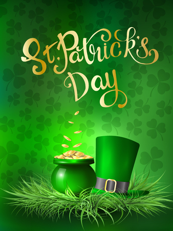 St. Patrick's Day. Greeting card with a St. Patrick's Day. Vector illustration.