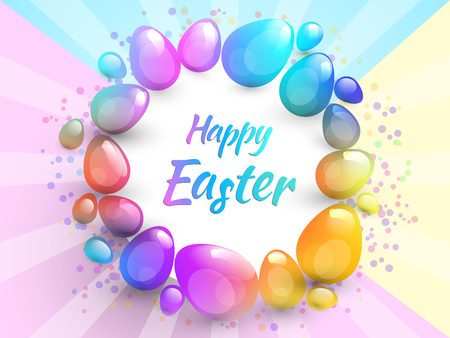 Happy Easter background with realistic Easter eggs. Illustration
