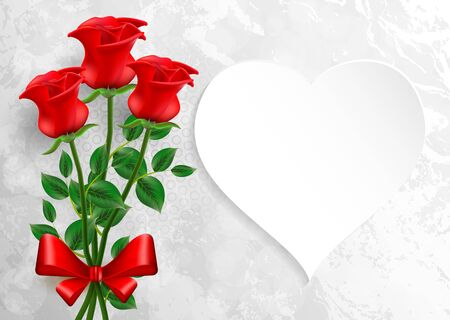 Valentines day. Greeting card with red roses. Stock Photo