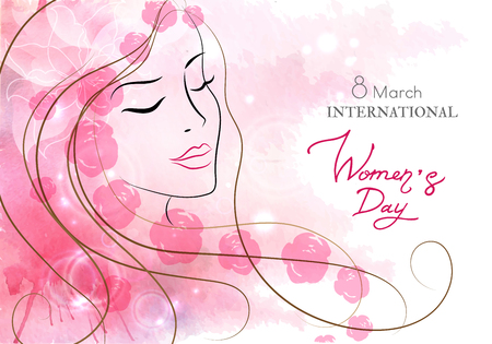 Beautiful woman with flowers. Watercolor pink background. Vector illustration. Vettoriali