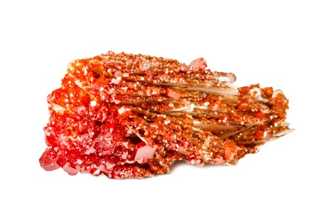 Macro shooting of natural gemstone. Raw mineral vanadinite, Morocco. Isolated object on a white background.