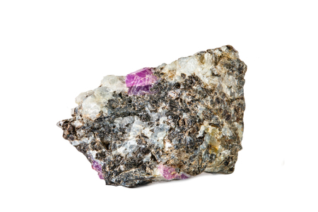 Macro shooting of natural gemstone. Raw mineral ruby in albite. Karelia. Isolated object on a white background. Stockfoto