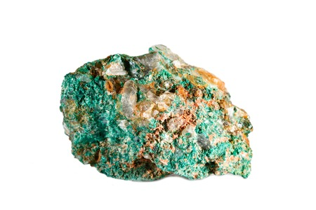 Macro shooting of natural gemstone. Raw mineral malachite. Morocco. Isolated object on a white background. Foto de archivo