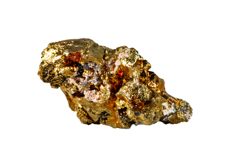 Macro shooting of natural gemstone. The raw mineral is chalcopyrite. Isolated object on a white background.