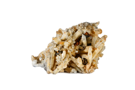 Macro shooting of natural gemstone. Raw mineral quartz. Isolated object on a white background.