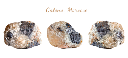 Macro shooting of natural gemstone. The raw mineral Galena, Morocco. Isolated object on a white background. Stock Photo