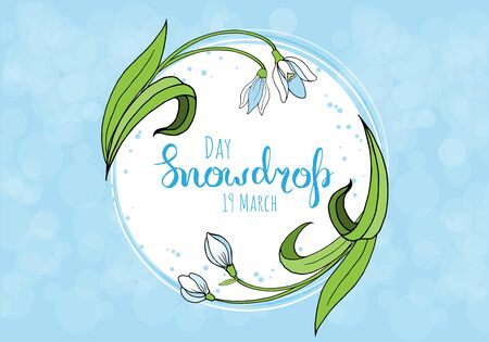 Spring greeting card with snowdrop day.