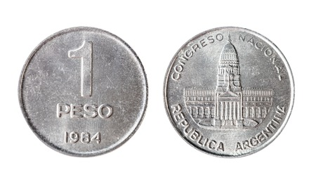 Coin of Argentina peso of 1984. Isolated object on a white background.