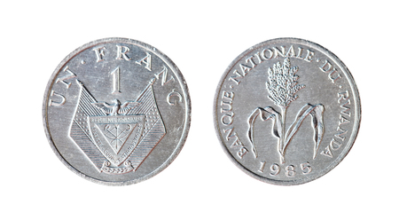 1 franc 1985 France. Isolated object on a white background. Stock Photo