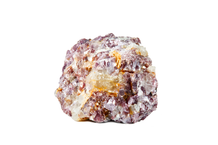 Macro shooting of natural gemstone. Raw mineral lepidolite, Madagascar. Isolated object on a white background.