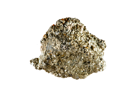 Macro shooting of natural gemstone. The raw mineral is arsenopyrite. Indonesia. Isolated object on a white background. Standard-Bild