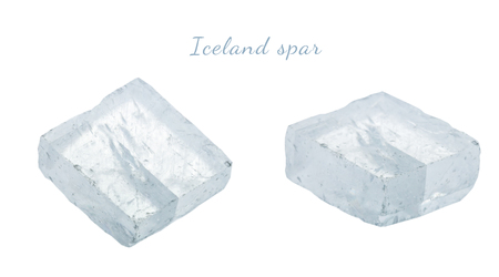 Macro shooting of natural gemstone. Raw mineral Iceland spar, Brazil. Isolated object on a white background. Stock Photo