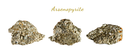 Macro shooting of natural gemstone. The raw mineral is arsenopyrite. Indonesia. Isolated object on a white background. Stock Photo