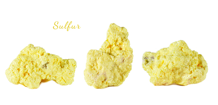 Macro shooting of natural gemstone. Raw mineral sulfur, Indonesia. Isolated object on a white background.