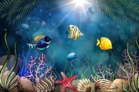 Composition of seashells, starfish, jellyfish. Underwater world. Sea background.