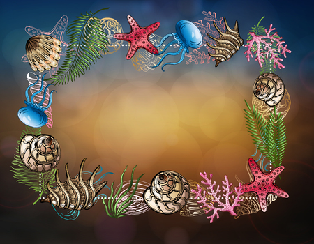 Composition of seashells, starfish, jellyfish. Underwater world. Sea background.
