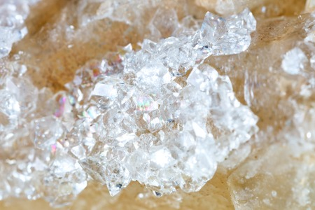 Macro shooting of natural gemstone. The raw mineral is quartz . Stock Photo