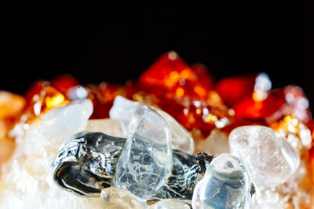 Datolite with quartz. The texture of the mineral. Macro shooting of natural gemstone. The raw mineral. Abstract background.