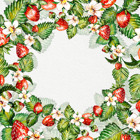 Watercolor floral background with strawberries. Summer card with copy space. Frame with watercolor strawberries. Hand painted background.