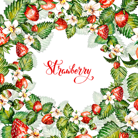 Watercolor floral background with strawberries. Summer card. Frame with watercolor strawberries. Hand painted background. Stock Photo