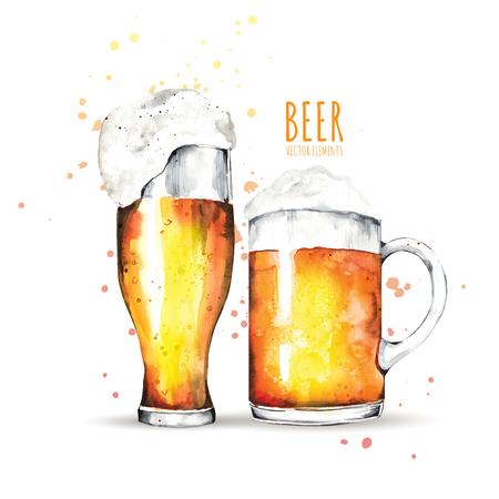 Elementi dell'acquerello sul tema della birra. Bicchiere da birra, luppolo, malto.