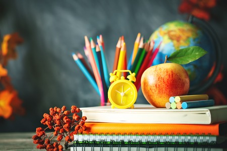 Back to school background with school supplies.View from above.