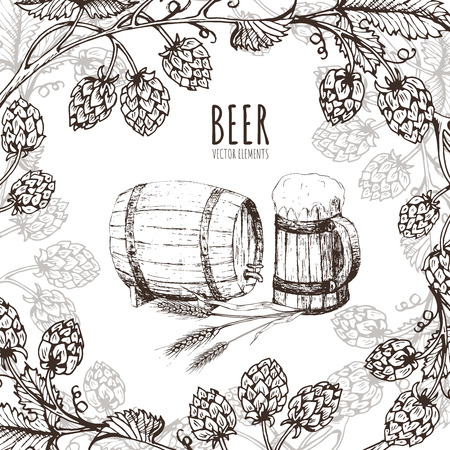 Painted elements on the theme of beer. Vector set. Beer glass, mug, bottle, and hop. Vintage vector engraving illustration for web, poster, invitation to party. Hand drawn design element.