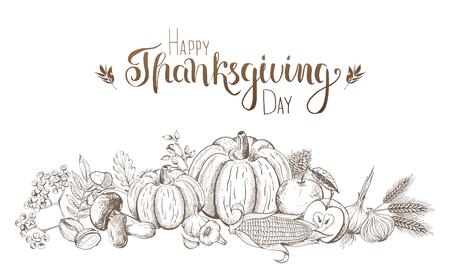 Frutas y verduras dibujadas a mano. Fiesta de acción de gracias y cosecha. Estilo grabado. Ilustración de vector. Ilustración de vector