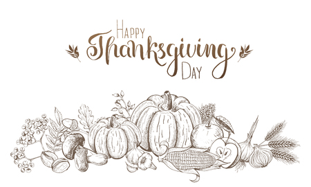Hand-drawn fruits and vegetables. Thanksgiving and harvest festival. Engraved style. Vector illustration. Vettoriali