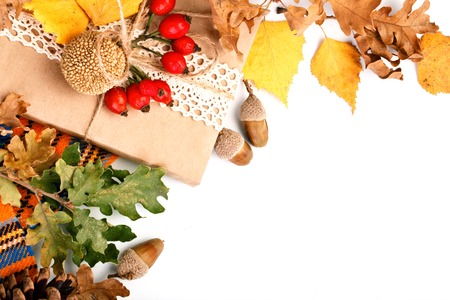 Happy Thanksgiving Day background. White background decorated with Pumpkins, Maize, fruits and autumn leaves. Autumn festival. Harvest festival. The view from the top. Horizontal. Stock Photo