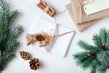 Merry Christmas and happy New year. Christmas gifts on light background. Top view. Christmas background.