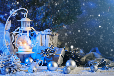 Merry Christmas and happy New year. Christmas composition of Christmas toys, gifts, candles and Christmas tree. Horizontal. Background with copy space. Christmas background.