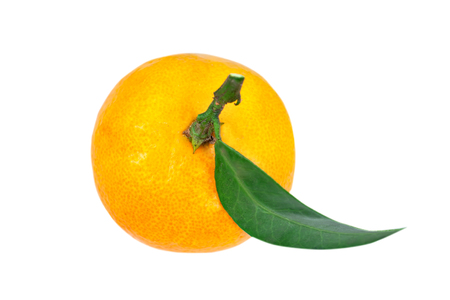 Tangerine or clementine with green leaf isolated on white background. Stock Photo