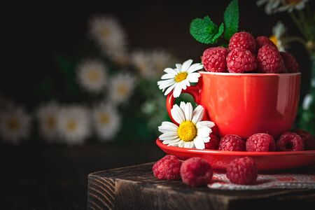 Raspberry in a red cup with chamomile and leaves on a dark background. Summer and healthy food concept. Background with copy space. Selective focus. Stock fotó