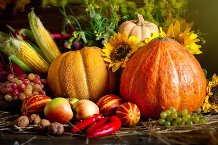 The table, decorated with vegetables and fruits. Harvest Festival. Happy Thanksgiving. Autumn background. Selective focus. Stockfoto - 128606997
