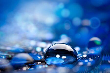 Beautiful transparent water drops or rain water on soft background. Macrophotography. Desktop background. Selective focus. Reklamní fotografie