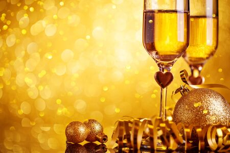 Champagne glasses on a beautiful bokeh