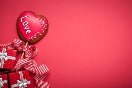 Valentines day card. Background with copy space. Selective focus. Horizontal. Stock Photo - 137475967