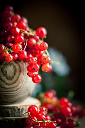Fresh red currants in plate on dark rustic wooden table. Background with copy space. Selective focus. Vertical. Archivio Fotografico - 150701769