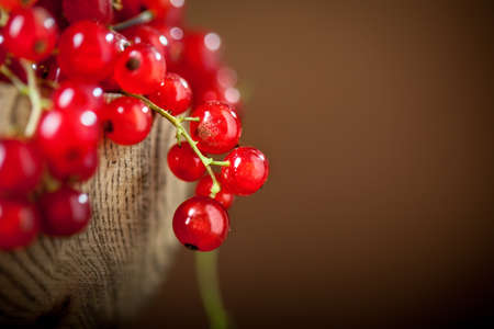 Fresh red currants in plate on dark rustic wooden table. Background with copy space. Selective focus. Horizontal. Banque d'images - 150701730