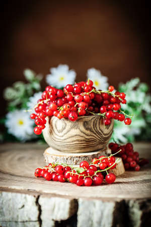Fresh red currants in plate on dark rustic wooden table. Background with copy space. Selective focus. Vertical. Banque d'images - 150883017