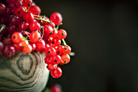 Fresh red currants in plate on dark rustic wooden table. Background with copy space. Selective focus. Horizontal.