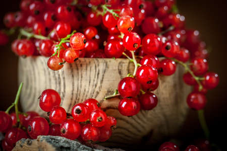 Fresh red currants in plate on dark rustic wooden table. Background with copy space. Selective focus. Banque d'images - 151050270