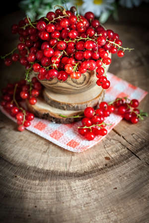Fresh red currants in plate on dark rustic wooden table. Background with copy space. Selective focus. Banque d'images - 151411154