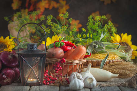 The table, decorated with vegetables and fruits. Harvest Festival,Happy Thanksgiving. Autumn background. Selective focus. Reklamní fotografie - 159042157