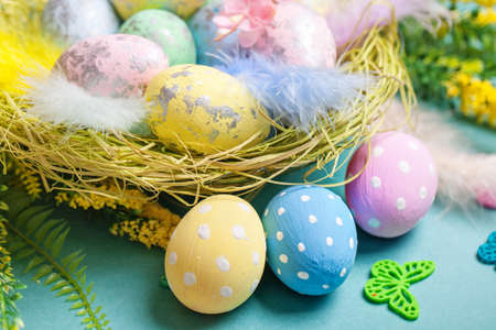 Congratulatory easter background. Selective focus. Horizontal. 스톡 콘텐츠