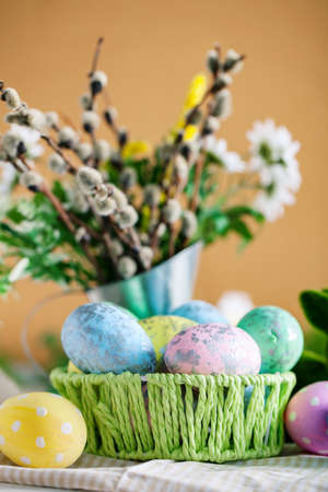 Congratulatory easter background. Background with copy space. Selective focus. Vertical. 스톡 콘텐츠