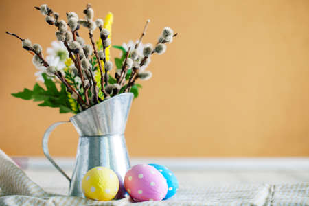 Congratulatory easter background. Background with copy space. Selective focus. Horizontal. 스톡 콘텐츠